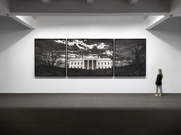 Robert Longo, Untitled (White House) (2019). Exhibition view: Robert Longo,Amerika, Metro Pictures, New York (25 April–25 May 2019). Courtesy Metro Pictures.