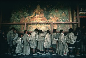 Visitors to the holiest temple, Jokhang, on Tibetan New Year's Day, Lhasa, Tibet by Hiroji Kubota contemporary artwork