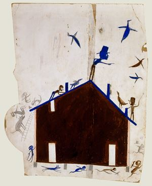 Brown House with Multiple Figures and Birds by Bill Traylor contemporary artwork
