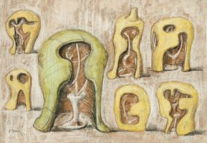 Helmet Head: Interior/Exterior Forms by Henry Moore contemporary artwork painting, works on paper, drawing