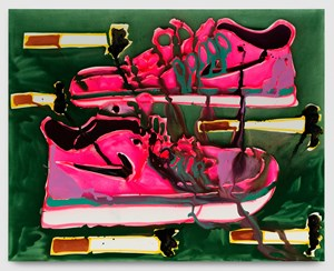 Pink Nikes + Cigarettes by Katherine Bernhardt contemporary artwork