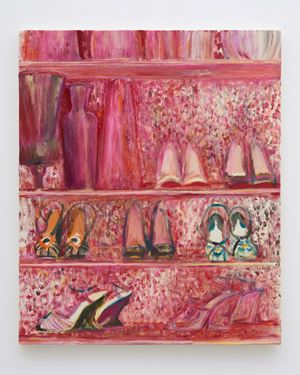 Shoe shelves with red floral wall paper … by Midori Sato contemporary artwork