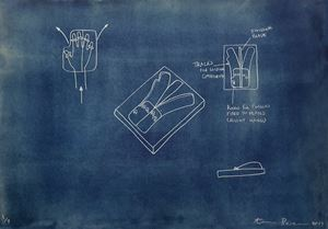 BLUE PRINT - Hand Divider by Aaron Bezzina contemporary artwork