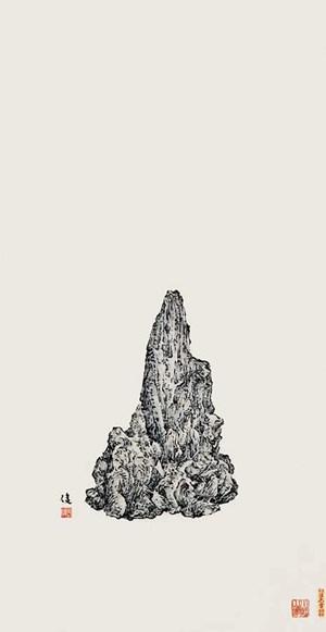 Wood Scholar's Rock by Zeng Xiaojun contemporary artwork