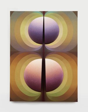 Split Orbs in brown, green, crimson and purple by Loie Hollowell contemporary artwork