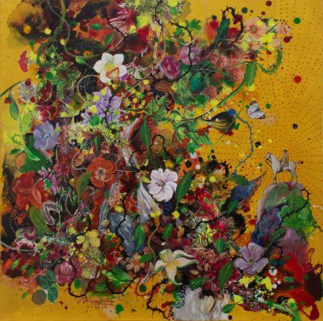 Priyantha Udagedara,Serendib 5,Mixed Media on Canvas, 60cm x 60cm. Courtesy Saskia Fernando Gallery.