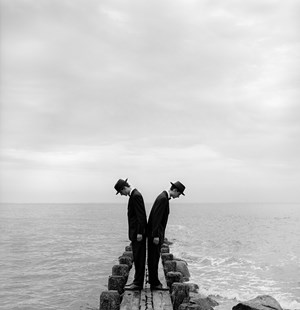 Twins Leaning Outward on Dock no.1, Sherwood Island, CT by Rodney Smith contemporary artwork