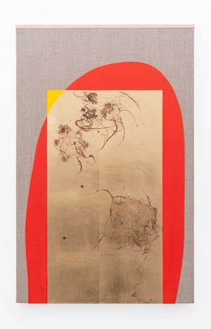 Hair orchid sweat print, yellow & vermilion with pink by Pierre Vermeulen contemporary artwork painting, sculpture