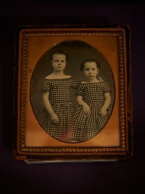 Photographer Unknown (United States). Portrait of two young girls in identical dresses. by Ann Shelton contemporary artwork