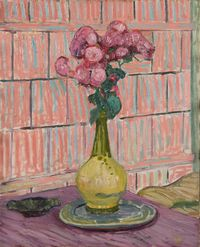 Les roses rouges by Cuno Amiet contemporary artwork painting
