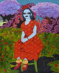 Thea in the Garden by Cynde Jasmin Coleby contemporary artwork painting, works on paper