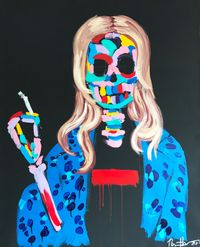 Smoking Kate by Bradley Theodore contemporary artwork painting, works on paper
