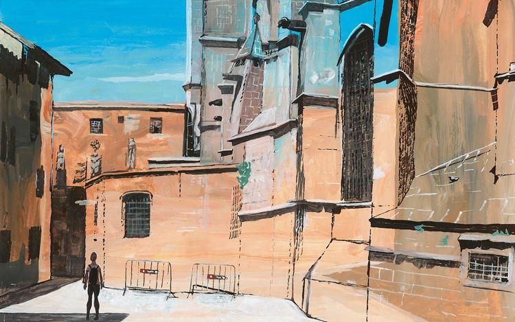 Marc Desgrandchamps, Barcelona, Barri Gòtic (2018) (detail). Ink and gouache on paper. 20 x 29 cm. Courtesy galerie Lelong & co. Paris.