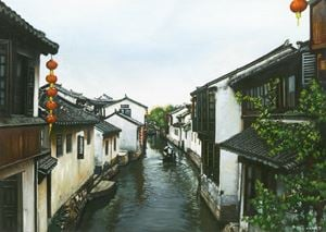 A Canal Town South of the Yangtze (2) by Mi Qiaoming contemporary artwork