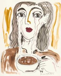 Don't Cry Over Spilled Milk, Cry A River Into Your Coffee by Julia Long contemporary artwork painting