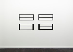Reflective Editor, Set of Four:  Two Horizontal Rectangular Holes, Parallel Pattern, Horizontal Division by Douglas Allsop contemporary artwork