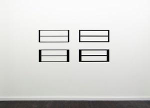 Reflective Editor, Set of Four:  Two Horizontal Rectangular Holes, Parallel Pattern, Horizontal Division by Douglas Allsop contemporary artwork