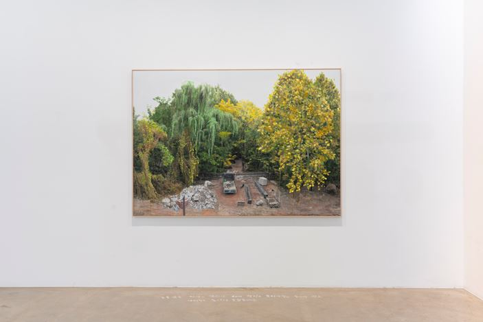 Honggoo Kang, Study of Green-Seoul-Vacant Lot-Nodeulseom (Islet)(2020). Pigment print and acrylic on canvas. 140 x 200 cm. Courtesy ONE AND J. Gallery.