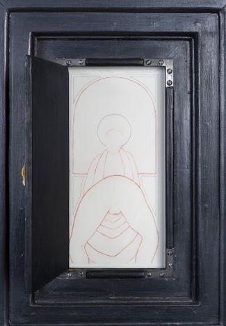 Our Lady of the Step Brothers (inset), 1983-1989. Graphite, textured gesso and found materials on wood, 42 x 31 x 4 in.