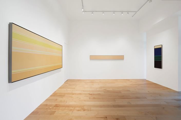 Exhibition view: Kenneth Noland, Pace Gallery, Palm Beach (25 February–14 March 2021). © The Kenneth Noland Foundation / Licensed by VAGA at Artists Rights Society (ARS), New York, NY. Courtesy Pace Gallery.