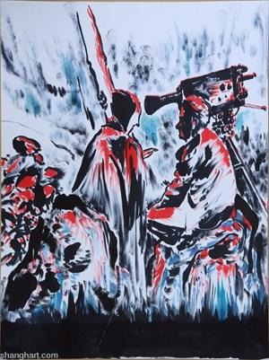 The Film Director and the Azrael by Sun Xun contemporary artwork