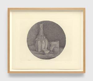 Grande natura morta circolare con bottiglia e tre oggetti (Large circular still life with bottle and three objects) by Giorgio Morandi contemporary artwork
