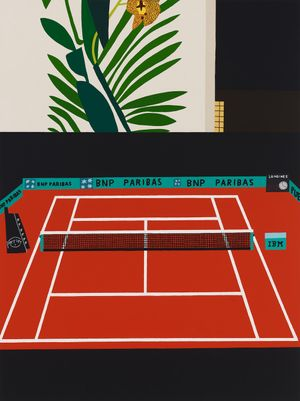 French Open with Orchid by Jonas Wood contemporary artwork painting