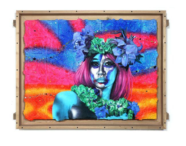 Blue Woman Pink Cloud by Ashley Bickerton contemporary artwork