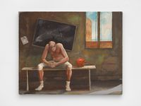 Untitled: Locker Room, Player Sitting by Ernie Barnes contemporary artwork painting