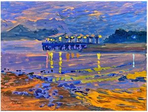 The Pier in the Evening by Stephen Wong Chun Hei contemporary artwork