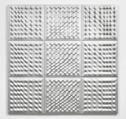 Enrico Castellani, Superficie argento (2006). Enamel with pulverised aluminium on cast aluminium. 174.5 x 174.5 cm. Edition of 4 (2 white, 2 silver). © Enrico Castellani /Artists Rights Society (ARS), New York / SIAE, Rome. Photo: Stephen White & Co.