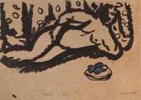 Nu aux pommes by Marc Chagall contemporary artwork painting, works on paper