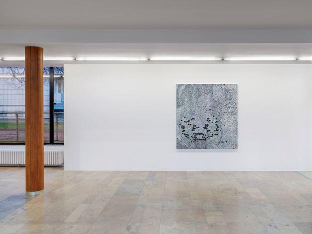 Exhibition view: Group Exhibition,Infinite Games, Capitain Petzel, Berlin (21 November 2020–30 January 2021). Courtesy Capitain Petzel. Artworks:Jacqueline Humphries Emoji: Persevering Face(2020).