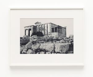 Erechtheion. Western façade. Sacred olive, karyatids and old temple of Athena Polias in foreground by James Welling contemporary artwork
