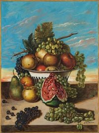 Still Life with Fruit by Giorgio de Chirico contemporary artwork painting, works on paper