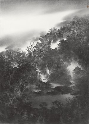 Hidden Pool in the Jade-green Valley 碧谷幽潭 by Cao Xiaoyang contemporary artwork
