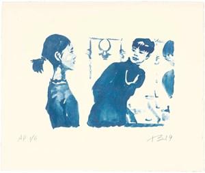 Hong Hai'er Putting in Earrings 3 紅孩兒戴耳環 3 by Liu Xiaodong contemporary artwork