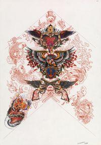 Sans titre (Dessin preparatoire pour tatouage) by Wim Delvoye contemporary artwork mixed media