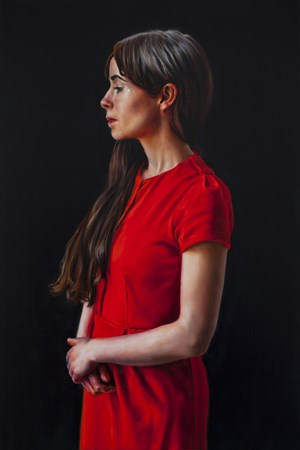 Photogénie - Figure in Red (Number 11 from a series of 12 paintings) by David O'Kane contemporary artwork