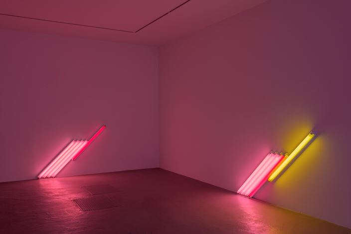 Exhibition view: Dan Flavin, David Zwirner, Paris (30 November 2019–1 February 2020). © 2019 Stephen Flavin / Artists Rights Society (ARS), New York. Courtesy David Zwirner. Photo: Charles Duprat.