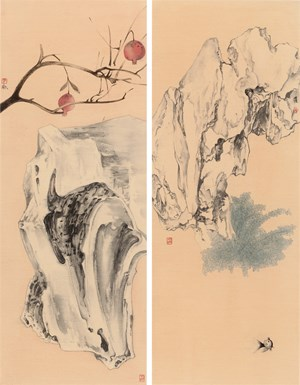 Elegant Offering Series No. 1 and No. 2 by Luo Ying contemporary artwork