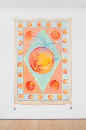 Orangenteppich [Orange Carpet] - magic carpet by Renate Bertlmann contemporary artwork