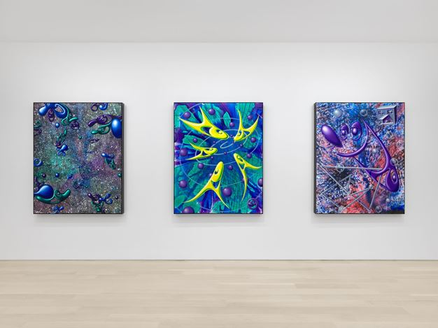 Exhibition view: Kenny Scharf,DystopianPainting, Almine Rech, New York (10 September–28 October 2020). Courtesy the Artist and Almine Rech. Photo:Dan Bradica.