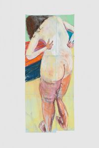 Self Portrait from behind with Arms Bent Back by Chantal Joffe contemporary artwork works on paper, drawing