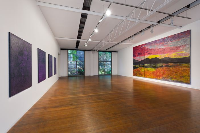 installation view, Daniel Boyd: AND THE HORIZON SWALLOWED THE TORTOISE, Roslyn Oxley9 Gallery, Sydney (15 July – 15 August 2020). photo: Luis Power