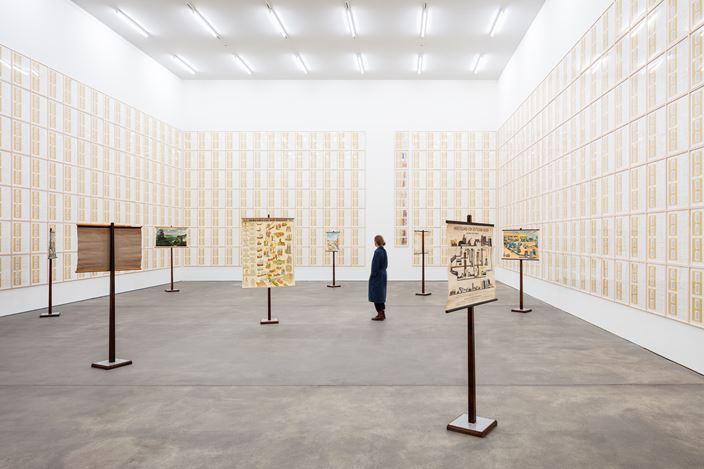 Exhibition view: Hanne Darboven, ERDKUNDE UND (SÜD-) KOREANISCHER KALENDER, Sprüth Magers, Berlin (12 September 2019–29 February 2020). Courtesy Sprüth Magers. Photo: Timo Ohler.
