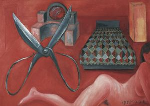 Scissors and a Red Room by Mao Xuhui contemporary artwork