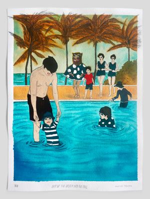 Out of the ocean into the pool by Marcel Dzama contemporary artwork