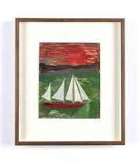 Sailboat with Hurricane Sky and Green Seas by Frank Walter contemporary artwork painting