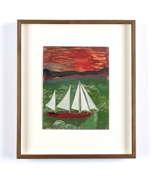 Sailboat with Hurricane Sky and Green Seas by Frank Walter contemporary artwork